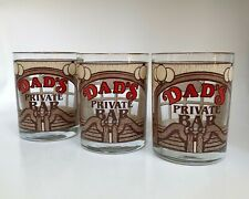 Lot of 3 - DAD'S PRIVATE BAR - Vintage Highball Houze Western Whiskey Glasses