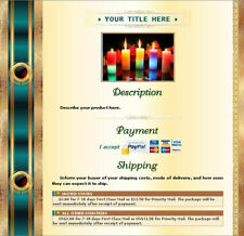 AUCTION TEMPLATE Certificate Column Design Turquoise Gold - Free Shipping