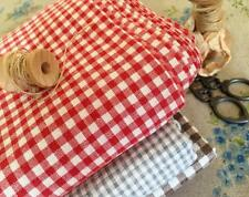 Primitive Vintage Red Gingham Check Woven 100% Cotton Quilting Fabric FQ 50X45cm