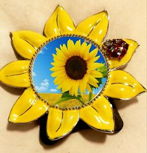 """Sunflower Picture Frame, 2""""x2"""" Round  W/ Red Jeweled Ladybug. Rear Entry Insert"""