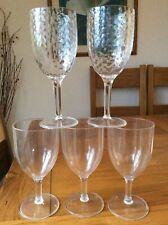 Five plastic camping, Wine drinking glasses, 3 used plain, 2 new dimpled.