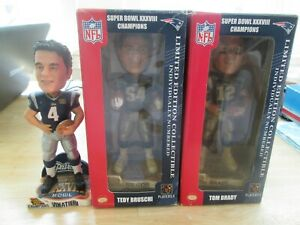 3 NFL - Patriots Super Bowl XXXVIII Bobblehead - BRUSCHI - BRADY - VINATIERI