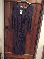 Oasis Midi Black/Grey Stretchy Dress Size M 12-14 BNWT