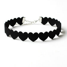 New Love Heart Beaded Velvet Choker Collar Necklace Fashion Jewelry Accessories