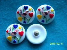 CZECH  GLASS BUTTONS (4 PCS) 22mm  BIRD& HEARTS   COLLECTABLE   C 031