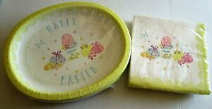 Easter Disposable Platters And Napkins HAPPY EASTER EGGS  20 Platters/40 Napkins