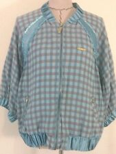 Apple Bottoms womens jacket blue Plaid baseball LIGHT Jacket 3/4 sleeve sz 2x