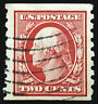 US Stamp 1910-13 2c Washington Coil Scott # 393 Used Paste Up