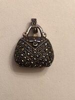 Vintage Sterling Silver & Marcasites Purse Shape Locket or Pendant