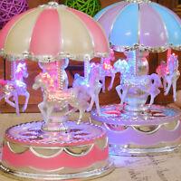 Vintage Horse Carousel Music Box Kids Toys Flash Light Musical Birthday Gifts