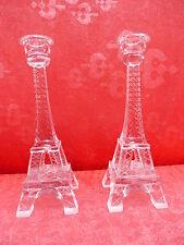 2 noble,antiguo luces__Torre Eiffel__Cristal__cada una 23cm__par de candelabros