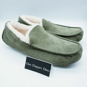 UGG Australia Ascot Suede Men's Size 18 Moss Green Moccasin Slippers 1101110