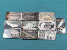 10 Pc Lot 1 oz Silver Vintage Art Bars Bullion Ingots from the 1970s