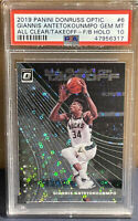 2019 Optic Giannis Antetokounmpo All Clear Takeoff FB Silver Disco #6 PSA 10 Gem