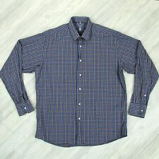 Luchiano Visconti Button Up Dress Shirt Mens Sz Large Blue Tan Geometric Plaid