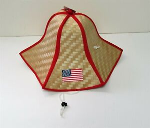 US Flag Foldable Straw Hat 4th of July American Hat with Drawstring