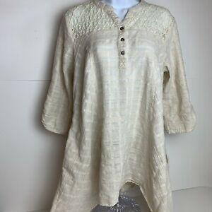 Umgee Linen Ivory Lace Tunic Top Boho  Button Lagenlook Blouse Size XL     AW