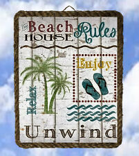 Tropical Beach Ocean 46 Sea Wall Decor Art Rules Coastal lalarry Ventage framed