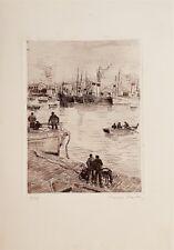 Valdo Louis Barbey gravure originale signée Port de Gijon Espagne Suisse