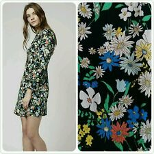 Topshop Retro Dolly Dress Black Ditsy Floral Vintage Style 14 42 10