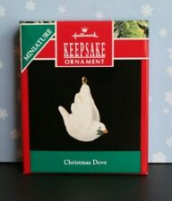 "Hallmark ""Christmas Dove"" Bird Olive Sprig Miniature Keepsake Ornament 1990 NIB"