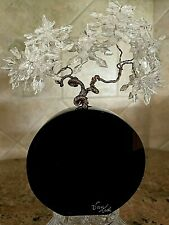 """Vtg Van Teal Black Lucite w/Wired Clear Bead Flowers/Leaves 6"""" Tall - Signed"""