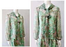 Vintage 70s Lady Carol Green Mod Abstract Daisy Ascot Skirt Twin Set Dress M