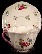 Shelley Tea Cup Saucer Dainty Shape Pink Roses Pattern Bone China England Teacup
