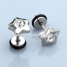 "Pair 16G CZ Gem Star Steel 1/4"" Barbell Ear Tragus Cartilage Helix Stud Earrings"