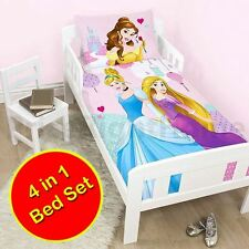 DISNEY PRINCESS 4 in 1 JUNIOR BEDDING BUNDLE DUVET COVER SET NEW TODDLER COT BED