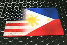"America USA Philippines Dual Country Domed Decal Distress Sticker 3D 3.25""x2"""