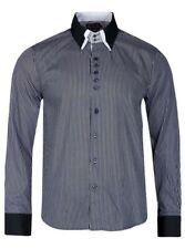 "Victory Eagle Mens Pinstripe Black Shirt 38"" Chest - Size Small"