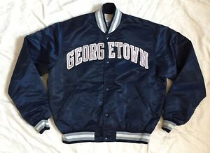 VTG 80s STARTER Georgetown Hoyas Satin Bomber Jacket Sz L Blue Silver Button Up