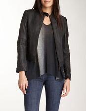 $750 DOMA NEW STUDDED Washed Textured Lamb Leather MOTO Jacket Coat BLACK  L NWT
