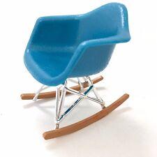 RAR Rocker Chair. BLUE. 1/12 scale Miniature Mid-Century Designer Chair