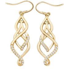 9ct Yellow Gold Cz Ornate Twisted Teardrop Hook Earrings 25x7mm 1.65g Hallmarked