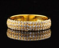 0.90 Carat Round Shape Solitaire Wedding Band In 14KT Solid Yellow Gold