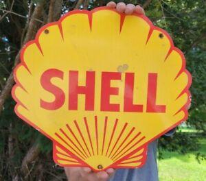 OLD VINTAGE SHELL GASOLINE PORCELAIN SIGN GAS PUMP STATION MOTOR OIL DIE-CUT