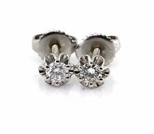 0.32 CT Natural round brilliant cut diamond stud earrings SI1/F 14K white gold