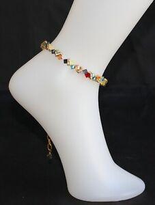 Swarovski Colourful Crystal Anklet (Adjustable)