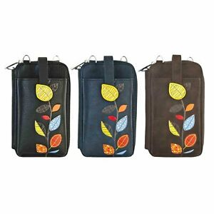 ESPE Maria Women's Vegan Leather Smartphone Pouch Wallet with Autumn Leaves