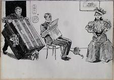 'Golden Age' Illustration Art Ink 1896 Drawing Charles Dana Gibson Style Artist