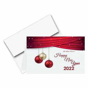 2022 'Happy New Year' Holiday Greeting Cards and Envelopes - 25 Per Pack