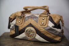 Guess Women's Multi Color Camel Brown Cream Handbag Shoulderbag Purse Pieced NEW