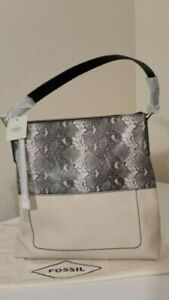 NEW FOSSIL BAG WITH BEIGE / SILVER LABEL MODEL AMELIA HOBO PAYTON $ 238