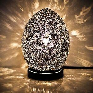 Fabulous Mini Mosaic Glass Crackle Black Egg Table Lamp ,Desk ,Bedside