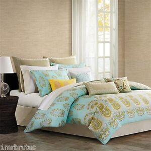 13-Pc Echo Paros Reversible Queen Comforter Set Teal Yellow Floral Paisley Greek