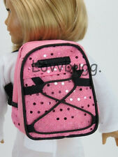 """New Pink Sequin Backpack for 18"""" American Girl Doll Lovvbugg Widest Selection!"""