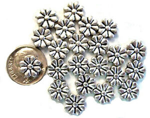 40 Antique Silver Plated Flower Spacer Metal Beads 10MM