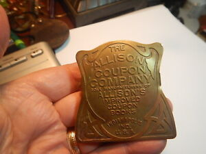 Vintage Brass Advertising Paper Clip, Allison Coupon Company Indianapolis In